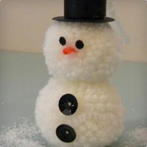Handmade Pom Pom Snowman Ornament