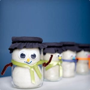 Homemade Play Dough Snowmen in a Jar