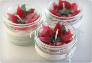 Homemade Soy & Beeswax Candles Topped With Wax Flowers