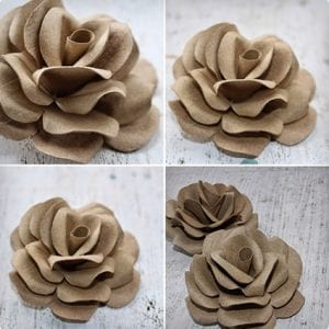 Intricate Rose Made Using Toilet Paper Rolls