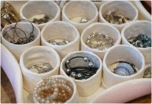 Jewelry Tray Organizer Made From Toilet Paper Rolls