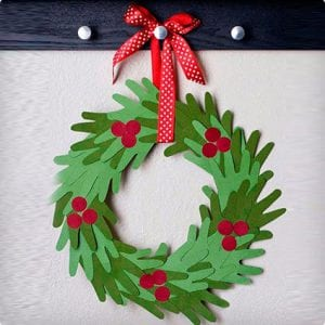 Kids Hand Christmas Wreath