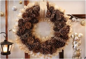 Lovely Old Book and Pine Cone Wreath