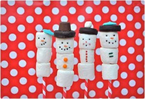 Marshmallow Snowmen On A Stick