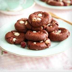 Mild Red Velvet and White Chocolate Chip Cookies