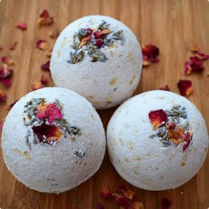 Natural Rose, Lavender, and Oatmeal Bath Bombs