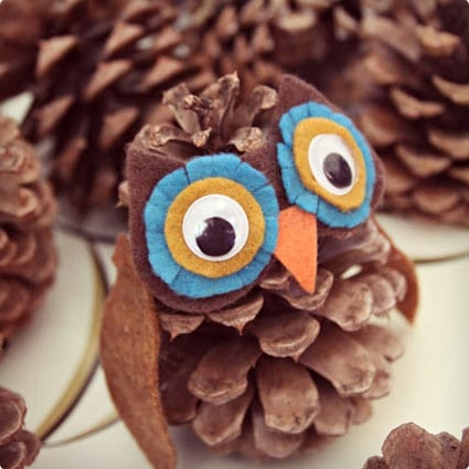 Owl and Hedgehog Pine Cone Craft