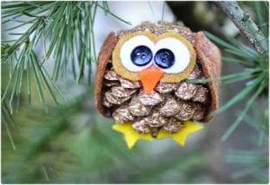 Pine Cone Owl Ornaments