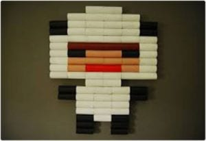 Pixel Art Using Toilet Paper Rolls