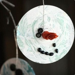 Recycled CD Snowman Ornament