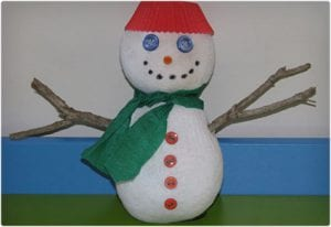 Recycled Sock Snowman