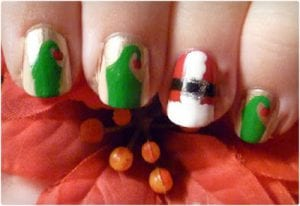 Santa and His Elves Nail Art