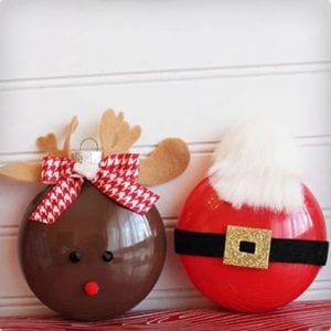Santa and Rudolph Painted Ornament Tutorial