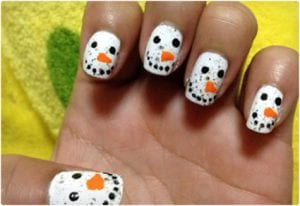 Simple and Cute Snowman Nail Art