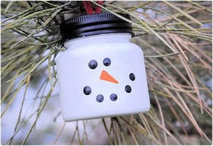Snowman Ornament Made From Baby Food Jar