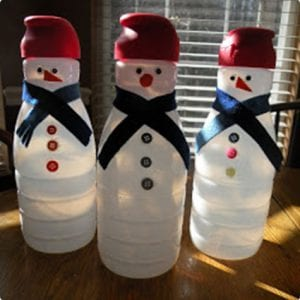 Snowmen Made From Coffee Creamer Containers