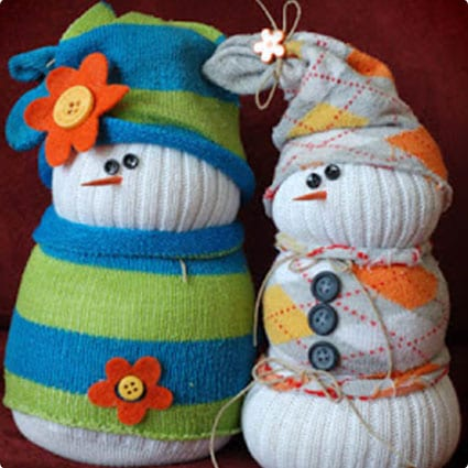 Sweater Wearing Sock Snowmen