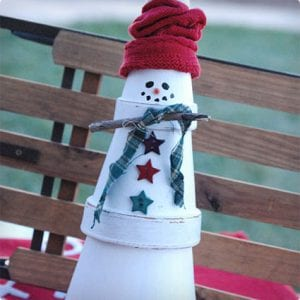 Terra Cotta Stacked Snowman Sculpture
