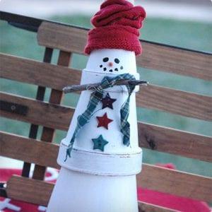 Terra Cotta Stacked Snowman Sculpture