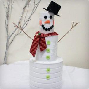 Tin Cans Snowman Sculpture