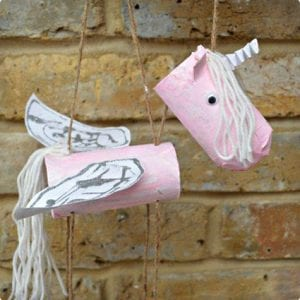 Unicorn Marionette Made From Toilet Paper Rolls
