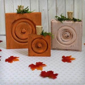 Wood Trim Block Pumpkin Craft