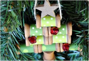 Wooden Spool Christmas Tree Ornament