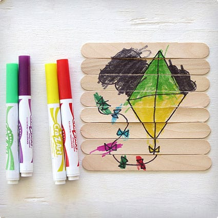 Children Designed Puzzle With Popsicle Sticks