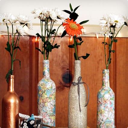 Collage Map Wine Bottle Decoration