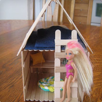 Crafty Doll House Made From Popsicle Sticks