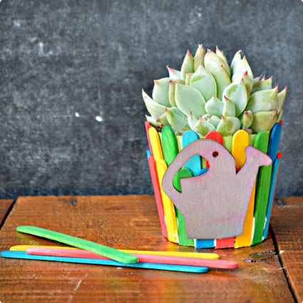 Dressing Up Flower Pots With Popsicle Sticks