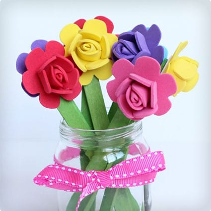 Easy Popsicle Stick Flowers and Vase