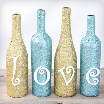 Glittery Wrapped Wine Bottle Decor