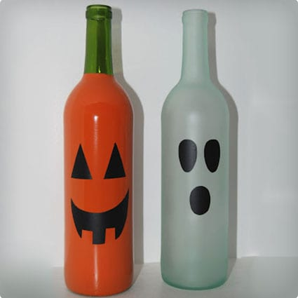 Halloween Decor Made From Painted Wine Bottles