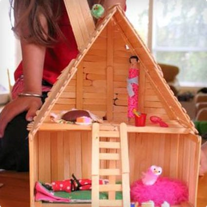 Larger Doll House Made From Popsicle Sticks