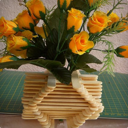 Open Style Vase With Popsicle Sticks