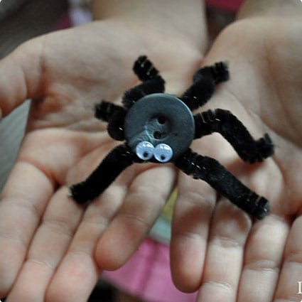 Pipe Cleaner and Button Spiders