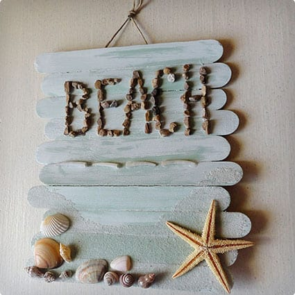Popsicle Stick Beach Memory Plaque