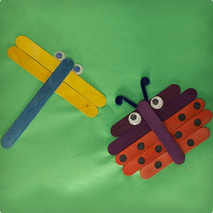 Popsicle Stick Ladybug and Dragonfly Collage