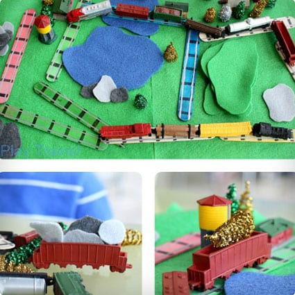Portable Train Set With Popsicle Sticks