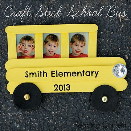 School Bus Picture Frame Made From Popsicle Sticks