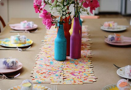 Splatter Painted Popsicle Stick Table Runner