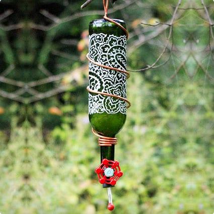 Wine Bottle Humming Bird Feeder
