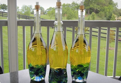 Wine Bottle Tiki Lamps