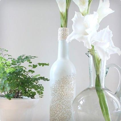 Wine Bottle and Lace Vase