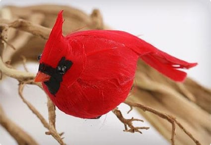 2 Bright Red Artificial Cardinal Birds