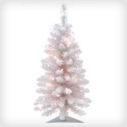 3 Foot Pre-Lit White Artificial Tree With Flocking