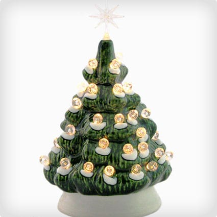 6 Inch Mini Ceramic Christmas Tree With Snow Clear Lights