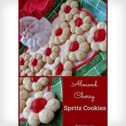 Almond Cherry Spritz Cookies