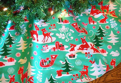 Aqua Red Tree Skirt, Reindeer Tree Skirt, Retro Christmas
